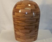 Turned Cremation Urn, African Mahogany Segmented Cremation Urn