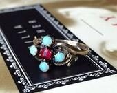 VALENTINES DAY SALE Victorian 1870s Australian Blue Opal Faux Ruby Rose Gold Ring Antique Vintage Edwardian Alternative Engagement Promise W