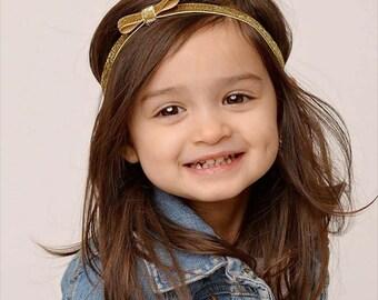 Gold Bow Headband - Petite Baby Headband - Glitter - Gold Headband - Bow - Photo Prop - Newborn Infant Baby Toddler Girls Preemie