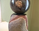 Rare Michigan Lightning Stone Septarian Concretion Sphere/Stand Set