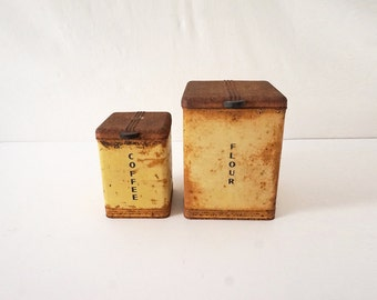 Set of Two Metal Vintage Kitchen Rusty Canisters