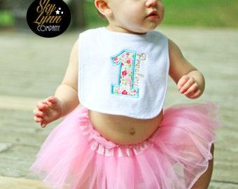 Shabby Chic Pink Turquoise First Birthday Bib