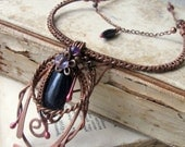 Gemstone necklace Copper necklace Wire Wrapped Necklace Wire wrapped Jewelry Handmade  Wire wrapped flower Wire jewelery