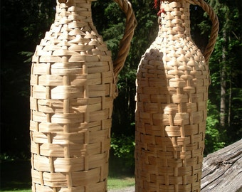 Pair of Vintage Wicker Covered Bottles - Two Rustic Woven Rattan Green Glass Wine Containers - Old Portuguese Decanter