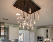 18 Pendant Industrial Chandelier - Dining Room Light, KItchen Island Chandelier
