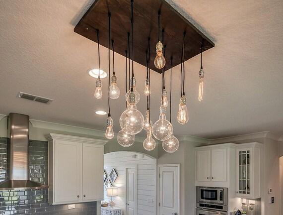 18 Pendant Industrial Chandelier - Dining Room Light, Kitchen Island Chandelier