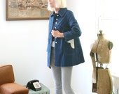 Vintage Heart Shaped Pockets Spring Jacket Navy Blue Size Small - Medium