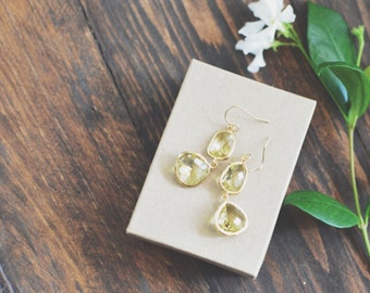 Double Citrine Dangle Earrings // Gold // Gold Filled Hooks // Bridesmaid Earrings
