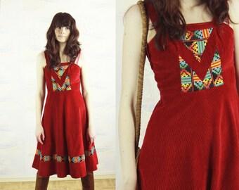 Red velvet pinafore dress,Small,1970s dress,folk dress,festival dress,boho dress,bohemian clothing,autumn winter,hippie dress,vintage dress