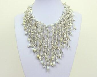 White Necklace. Multi Strand Necklace. White Bib Necklace. White Collar Stlye. Masai Beads. MapenziGems DB32