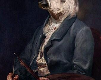 Andy Warthog, Vintage Warthog Print, Anthropomorphic Art, Whimsical Animal Art, Photo Collage, Funny Animal Art, Unusual Art, Unique Gift