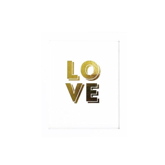 REAL Gold Foil Print LOVE Typographic - Metallic Gold Print Wall Decor