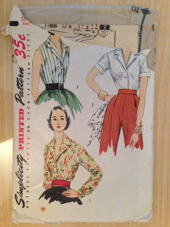 Vintage 50s Simplicity 4352 Sewing Pattern Misses and Womens Blouse Size 16