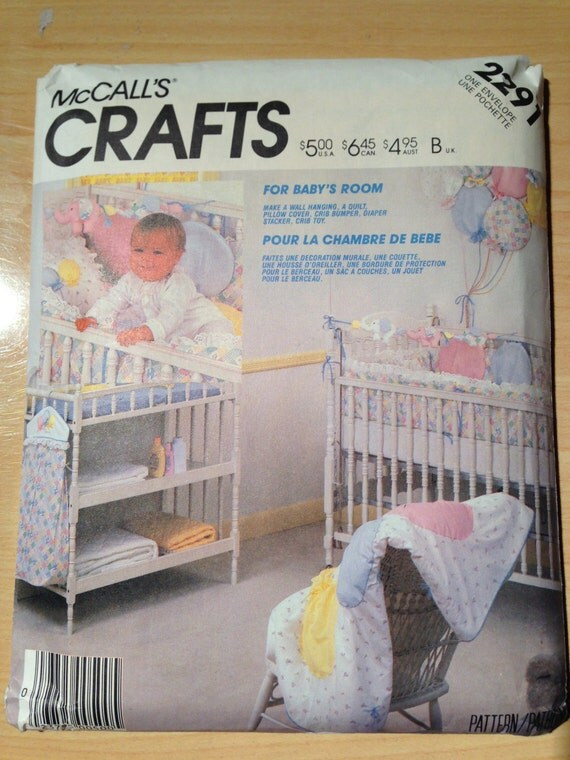 McCall's Crafts Sewing Pattern 80s 2291 Baby Room Accessories Wall Hanging, Quilt, Pillow Cover, Crib Bumper, Diaper Stacker and Crib Toy