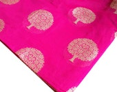Hot Pink and Silver - Tree Of Life Pattern - Chanderi Silk Fabric - Dress Fabric - Chanderi Silk Fabric by Yard