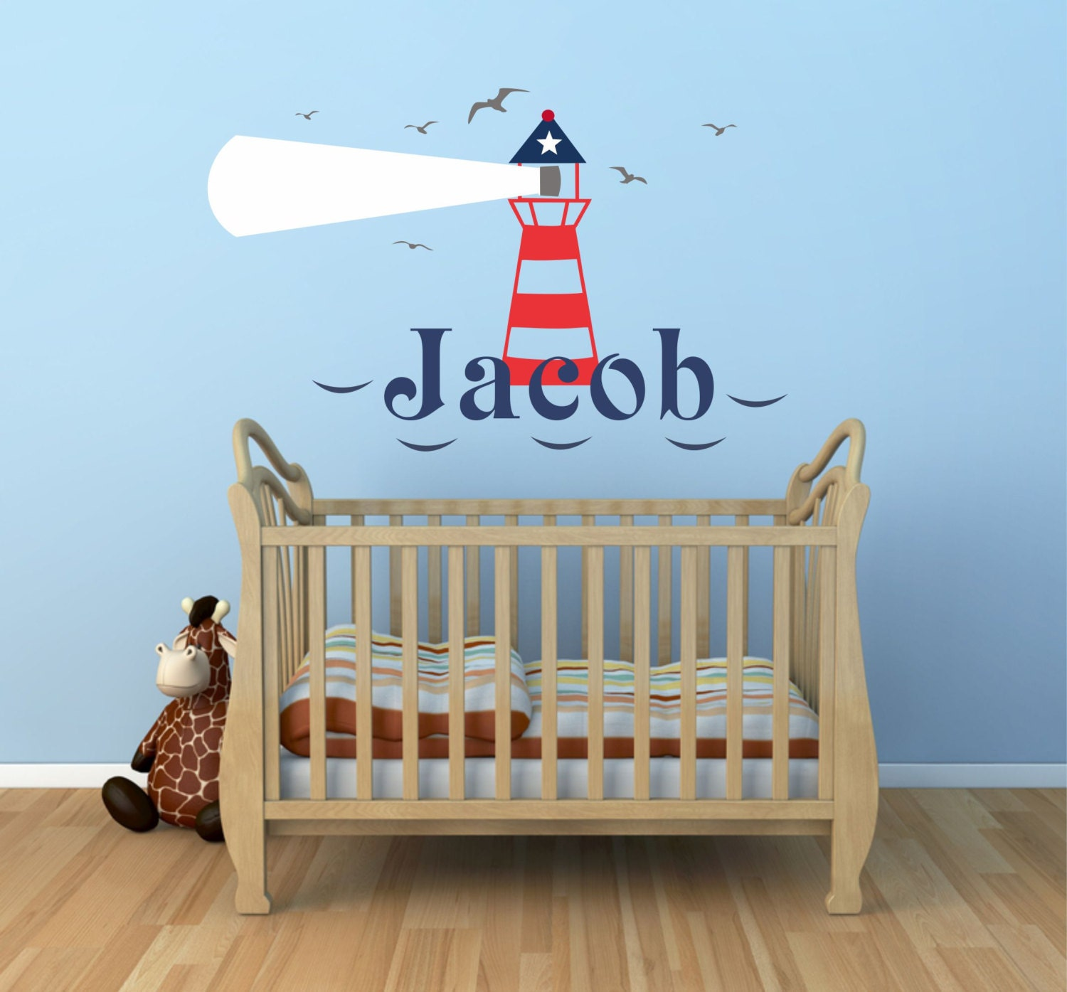 Personalized Nautical Wall Decor : Lighthouse wall decal personalized nautical