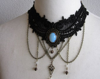 Necklace Choker Collier Gothic Victorian Rococo Art Nouveau Medieval White Gold Bronze