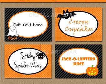 EDITABLE Halloween Candy Buffet Labels, Tent cards, Halloween DIY Food Labels, Orange Black Buffet Cards - Kids Halloween Buffet Labels