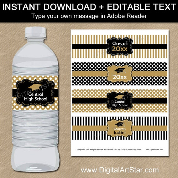 Black And Gold Graduation Water Bottle Label Template  Printable