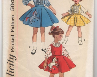 1950's Simplicity Girl's Jumper, Skirt and Blouse pattern - Size 6 - No. 2287