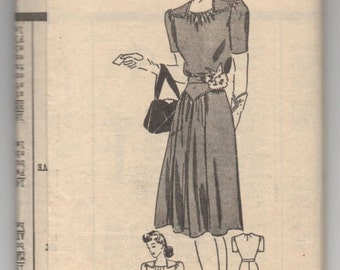 """1940's Anne Adams One-Piece Dress Pattern with Short Sleeves - Bust 34"""" - No. A4776"""