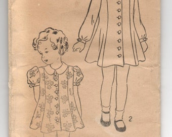 """1930's Excella Girl's Dress with long or short sleeve pattern - Breast 24"""" - No, 5103"""