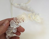 Lace flowers headband, White wedding, White bridal flowers, Bridal headband, Bridesmades flower, Flower girl headband, First communion