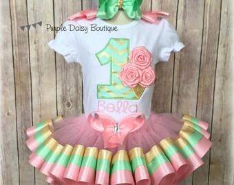 First Birthday Rosette Ice Cream Cone Pink, Mint Green, and Gold Ribbon Trim Tutu Birthday Outfit - Ice Cream Birthday Outfit