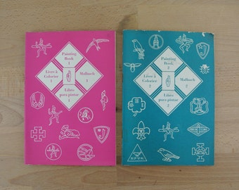 Set of 2  Vintage Brownies around the World Colouring / Painting Books |  1960s  | Girl Guides | Girl Scouts