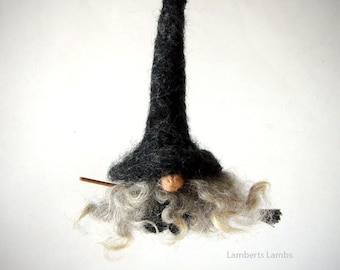Needle Felted Tomte Nisse Gnome Witch Flying on a Broom, kitchen witch,