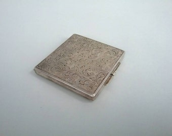 Vintage Silver Powder Compact, silver powder box with paisley pattern, Makeup Compact, collectible compact, mirror compact silver