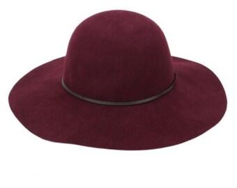 Wine Wool Floppy Hat