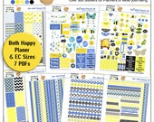 Bee-utiful 500 Printable Planner Stickers or Bible Journaling 7 PDF Clip Art, Washi, HP & EC Boxes, Icons/ Bees