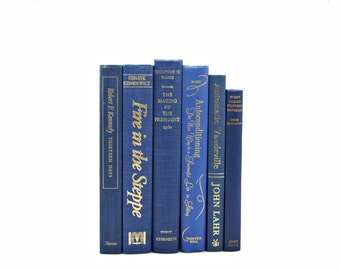 Royal BLue  Decorative Books, Wedding Decor Centerpiece, Old Book Collection, Antique BOok set, Home, POwder blue BooksInterior Design
