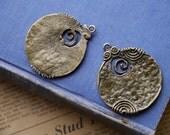 2 pcs Large HEAVY DUTY Bronze Scroll Hammered Pendant Charm 47mm (BFC2887)