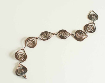 "Copper Bracelet Leaf Link Chain ft. Celtic Spirals 18ga 7.5"" Bracelet"