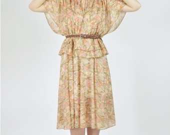 Vintage 1970's Brown Boho Painterly Floral Casual Summer Dress- Flutter Sleeve Midi Peplum Waist dress- Ladies size medium