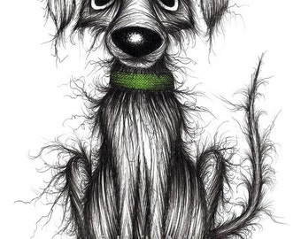 Mr Smelly the smelly dog Print A4 size picture Horrible stinky pet pooch with thin scruffy tail and green collar Art sketch printed on paper