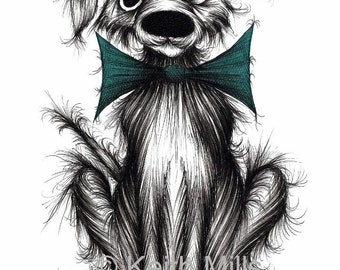 Ben the dog Print A4 size art picture Very important looking pet pooch doggie hound in smart trendy bow tie Animal lovers gift Wall decor