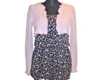Pink Shrug, Bolero Shrug, Upcycled Clothing, Pink Bolero Shrug, Long Sleeve Shrug, Upcycled Sweater Shrug, Dancers Shrug, Gift for Her