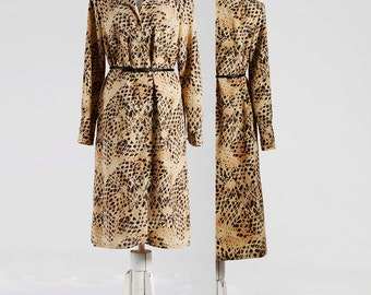 Vintage Chic Dress, Classic Women's Dress, 60s Dress, Tea-Length Dress, Warm Cream with Brown Pattern, Polyester Dress, Elegant Dress