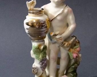 Victorian Putti Cupid Figurine Bud Vase Porcelain with Gold Speckled Trim - Applied Pink Roses