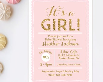 Its a girl baby shower invitation - Pink and Gold Baby Shower Invitation - Gold Glitter invitation - Girl Baby Shower - Printable invitation