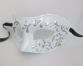 White Silver Masquerade Mask Men Venetian Domino Wedding Mask Couples Mask