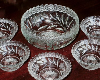 6 Pi ABP PAIRPOINT BOWL Set Antique Round Glass Clear Cut Crystal Flower Floral Berry Fruit Cut Leaves Scalloped Edge Excellent Condition