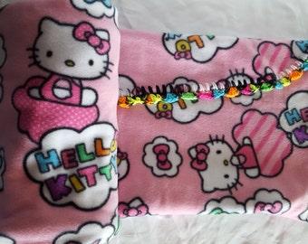 Pink Kitty Cloud crochet edged Fleece Blanket by FreCkLes GarDeN