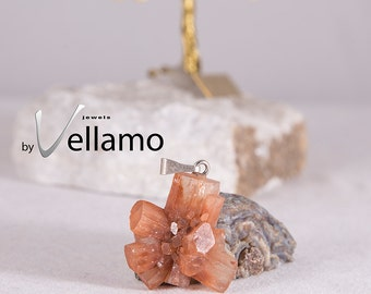 Natural aragonite crystal pendant, golden brown genuine aragonite, crystal cluster peachy color natural stone pendant