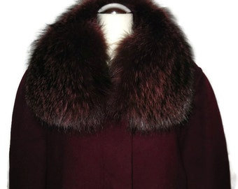 Vintage 1980s 90s Long Wool Cashmere Coat Maroon Coat Dyed Fluffy Fox Fur Collar Wool and Fur Coat L XL