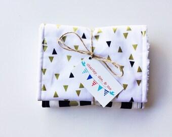 Gold Black White Stripes and Triangles Baby Burp Cloths, Metallic Glitter Nursery, Free Shipping, Ready to Ship, Newborn Shower Burp Cloth,