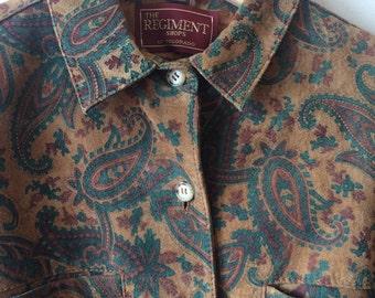 Suede jacket paisleys design vintage womens medium mens small
